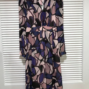 Anne Klein Dresses - Anne Klein Blue Ink Combo Chiffon Dress Size 8